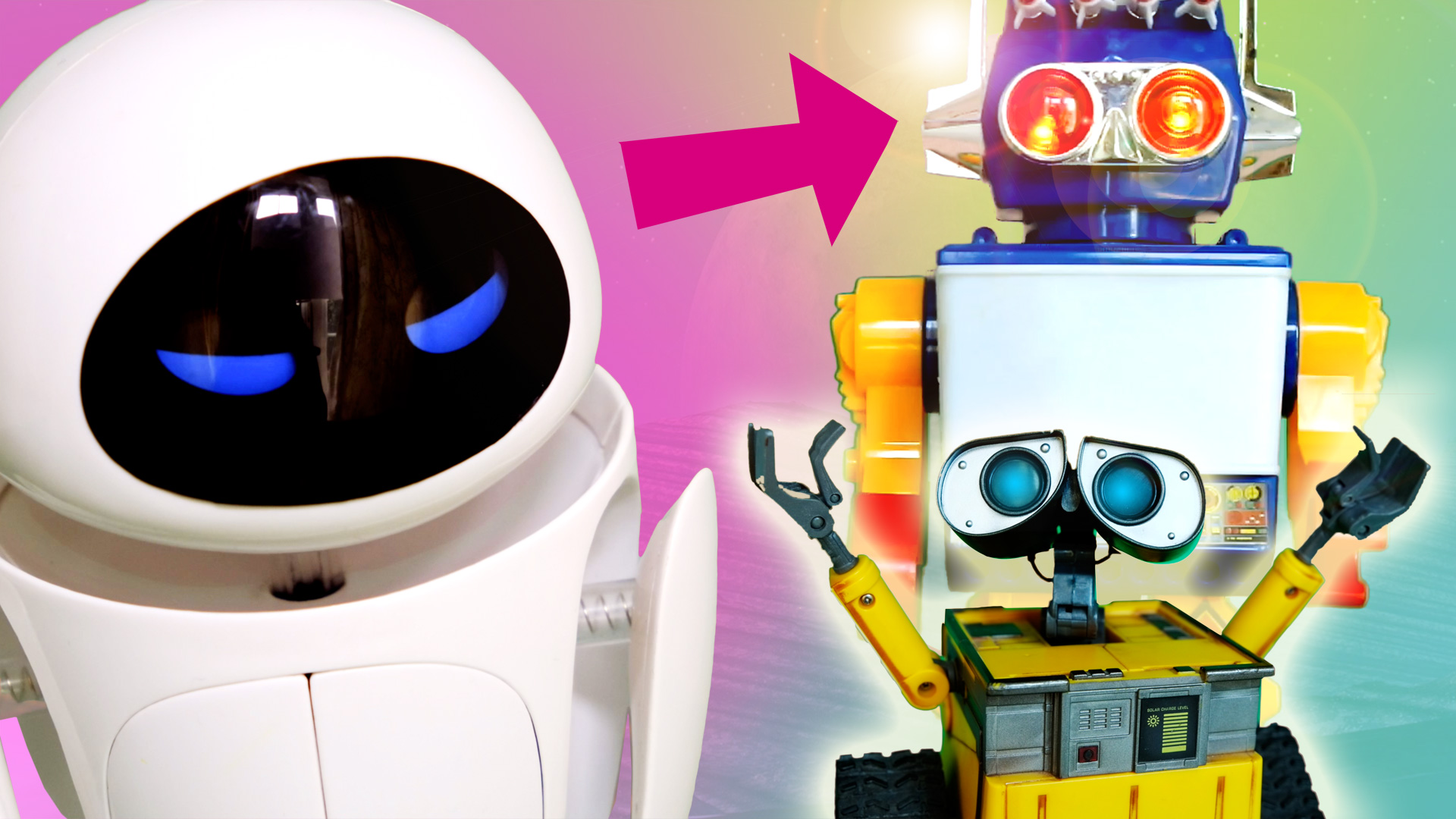 WALL-E and EVE vs. The Giant Saturn ROBOT