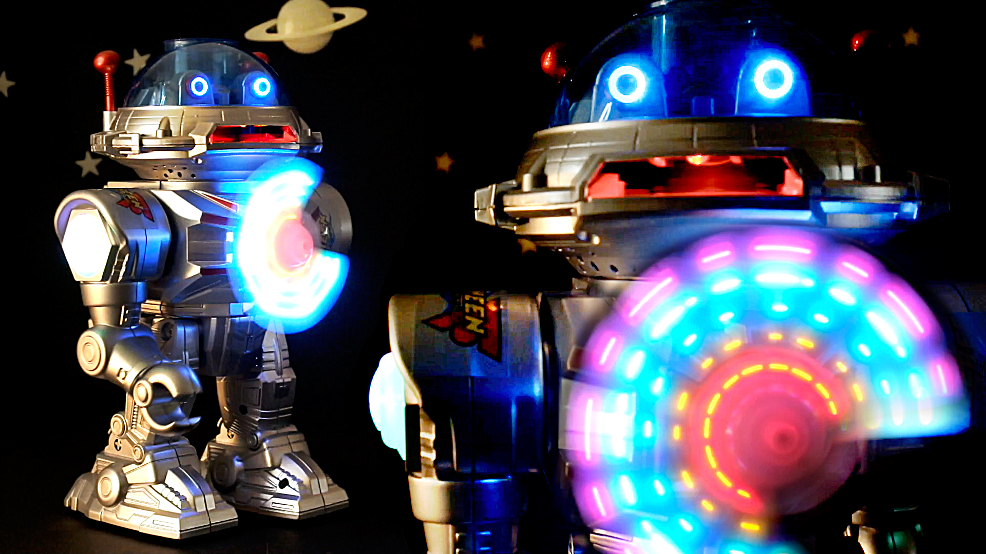 Star Defender // Walking Talking Toy Robot with Spinning LED Display