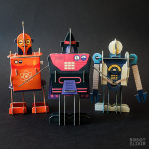 Walk-Bot, Wiggle-Bot and Wave-Bot from Build A Robot kit by Templar Publishing