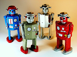 Schylling Atomic Robot Man - Colour variations: red, blue, green and chrome
