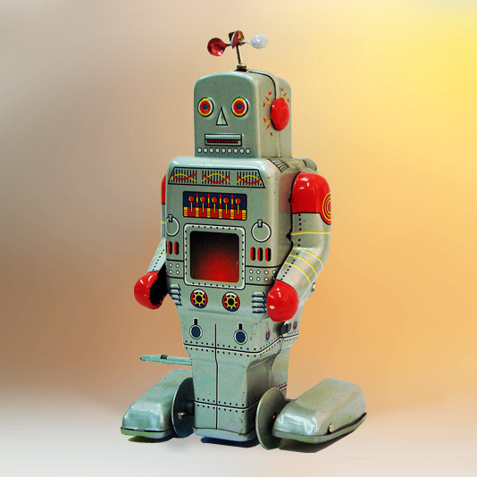 Mechanical Walking Robot (with spinning antenna copy reproduction) wind up tin toy