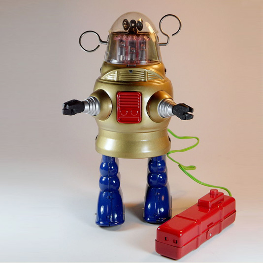 Piston Action Robot by Ha Ha Toy (Gold Pug Robby the Robot)