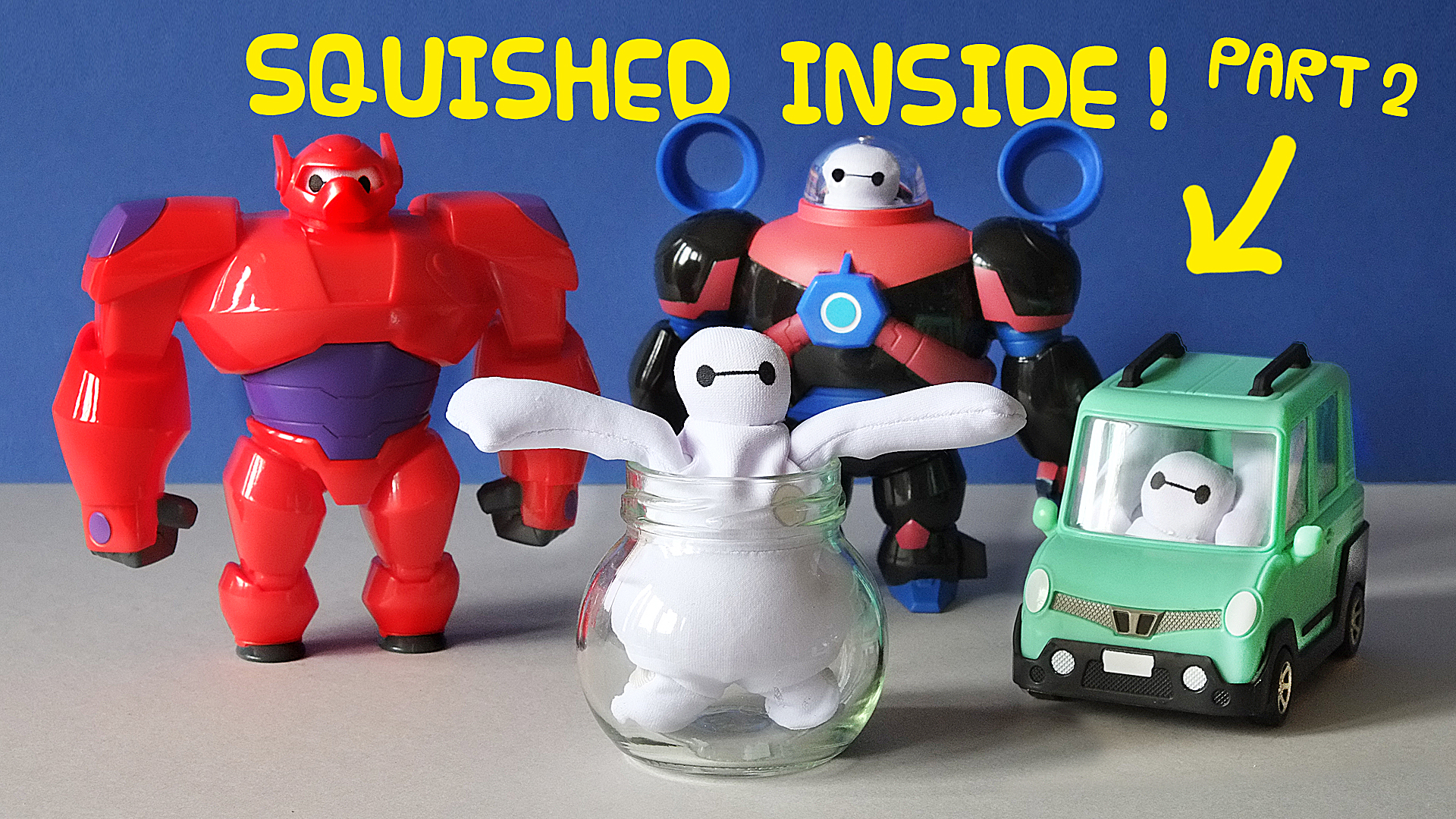 Squashing BAYMAX into REALLY SMALL spaces // Big Hero 6 Squish To Fit Toy